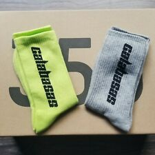 Adidas YEEZY Calabasas Socks 2 pack Grey Gray Semi Frozen yellow Green Mens 8-12