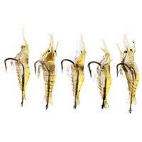 5 PIeCES 4cm 2g Leurre souple Super-leger crevettes appat crochet (Jaune) WT