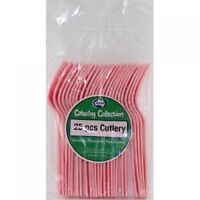 LIGHT PINK PLASTIC CUTLERY FORK PACK OF 25 BIRTHDAY PARTY TABLEWARE CUTLERY