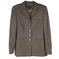 Escada Women's Striped Wool Blend Blazer Brown German 38 US Medium M