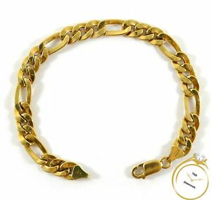 Figaro Link Chain 18k Yellow Gold Bracelet 8 inches