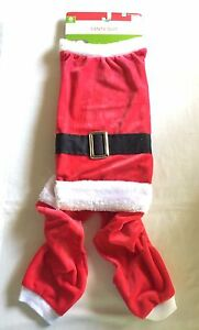 """Christmas Santa Dog Suit Size Medium Red Velour w/ Attached Belt 16-20"""" Neck NWT"""