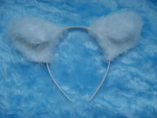 White Fox Ears Faux Fur & Marabou Trim Fancy Dress - All Colours -