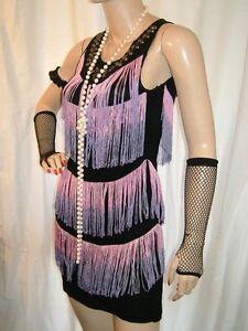 VINTAGE STUDDED BLACK, PURPLE & PINK FRINGE TASSEL 1920 FLAPPER FANCY DRESS 14