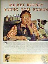 "1940 Mickey Rooney Movie Star Memorabilia ""Young Tom Edison"" Vintage Art AD"