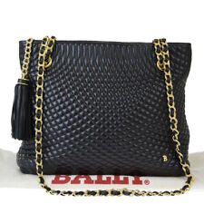 Authentic BALLY Quilted Chain Fringe Shoulder Bag Leather Black Gold 05EY368