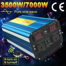 PURE SINE WAVE 3500W MAX 7000W 12V TO 230V POWER INVERTER CARAVAN Remote Control