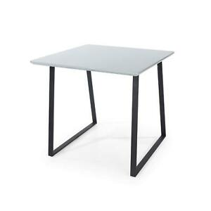 Modern Grey High Gloss Square Dining Table Solid Metal Legs Levellers Kitchen