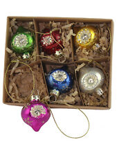 Gisela Graham Set of 6 Vintage Glass Christmas Tree Baubles - Retro Set