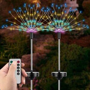 2x LED Solar Powered Firework Fairy String Lights Garden Outdoor Night Path Lamp