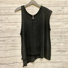 Free People Black Grunge Tee Size XS Opposite Sleeves Middle Seam