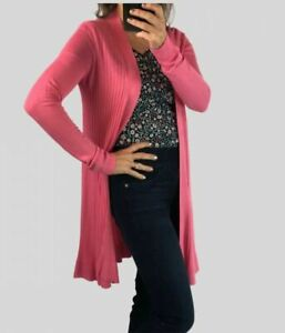 Ex M&S Marks Spencer Collection Pink Navy Black Longline Ribbed Open Cardigan