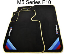 BMW M5 Series F10 Black Floor Mats Beige Rounds With ///M Power Emblem & Clips