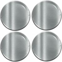 56mm 3D Gel Domed Car Wheel Centre Hub Center Stickers Cap Silicone Gloss Silver