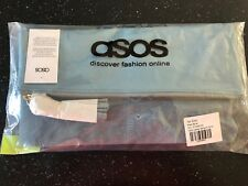 ASOS LEATHER SLANTED PALE BLUE FOLDOVER /CLUTCH/PARTY BAG