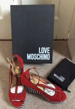 Love Moschino Red Wedge Sandal , 37, Uk 4, new with box