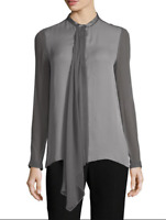 Elie Tahari's Silk Vincenza blouse in Pumice Gray Size Small NWT