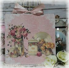 """NEW! """"TEA TIME"""" Shabby Chic Vintage Country Cottage style Wall Decor Sign"""