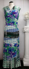 ROZ & ALI Dressbarn Multi Color Maxi Dress Stretch Empire Waist Top Wrap Size 12