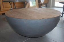 DESIGN Couchtisch Mango Holz Justin metall rund Beistelltisch Halbkugel 70x33cm