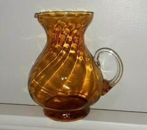 Art Glass Vase Mid Century Vintage Large Amber Optic Swirl Glass with Handle