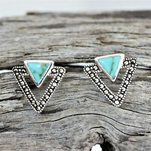 Marcasite & Turquoise Double Triangle Stud Earrings Sterling Silver 925 Hallmark