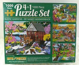 New.   1000 Pc Puzzle Set Bits Pieces 4 In 1 Rustic Garden Nancy Wernersbach