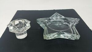 Pair Of Clear Glass Candle Holders One Five Star One 7 Point Standard Holder