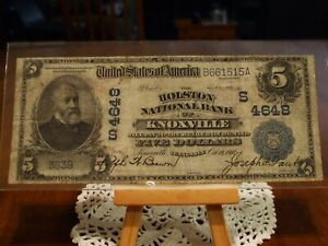902 DATE BACK $5 NATIONAL CURRENCY,THE HOLSTON NATIONAL BANK OF KNOXVILLE, VF