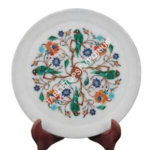 """9"""" Round Marble Plate Parrot Multi Inlay Floral Thanksgiving Decor H1444"""