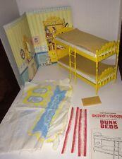 Vintage Barbie 1964 Mattel Skipper 'N Scooter Bunk Beds w Backdrop Uncut Fabric