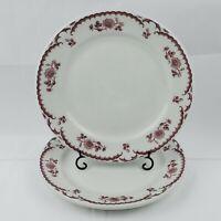 """Set of 2 VTG Shenango Restaurant Ware Chardon Rose Red 9"""" Dinner Lunch Plates"""
