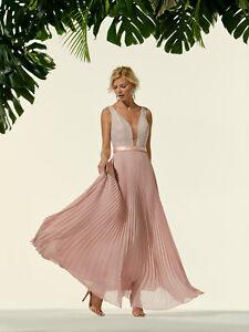 Abito Carla Ruiz donna lungo vestito elegante rosa cipria plisse cerimonia 44 m