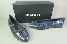 "CHANEL 40 Navy Alligator ballet ballerina flats cap round toe ""CC"" NEW shoes"