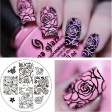 Born Pretty Nail Art Sellado Placas Manicura Plantilla de Imagen Decoración patrón de Rose