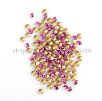 10Gross1440Pcs Top Quality Czech Crystal Round Rhinestones Pointed Foiled Back