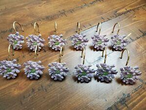 Shower Curtain Hooks Purple Violet Flowers Resin Gold Tone Hooks 12 Total