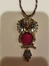 NWT $48  Betsey Johnson Goldtone Multi-Color Owl Pendant Necklace