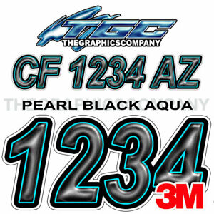 Black Aqua Custom Boat Registration Numbers Decals Vinyl Lettering Stickers USCG