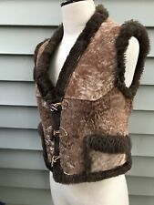 Vintage Womens Genuine Shearling Sheepskin Vest w/ Pockets