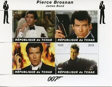 Chad 2018 CTO James Bond Pierce Brosnan 007 4v M/S Movies Film Stamps