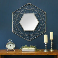 Handcrafted Modern Hexagon Wall Mirror with Decorative Metal Frame