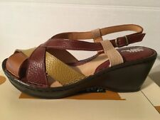 NWB Womens EU41/US 9.5-10 Spring Step Cecilya Genuine Leather Wedge Sandal Red