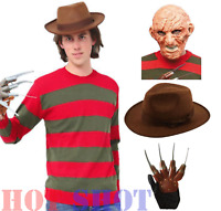 Men's Halloween Freddy Fancy Dress Horror Costume Adult Outfit Free P&P