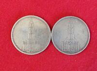 Deutsche Reich 2 x 5 Reichsmark 1934 A, D Garsonskirsche s+ Silbermünzen Km#83