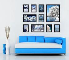 Black 10PCS Photo Frame Wood Made Wall Mounted Art Nostalgic Home Decor Set