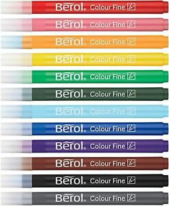 Berol Felt Tip Colouring Pens, Fine Point (0.6mm), Assorted Colours, Tub of 42