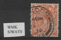 SG.421b. 2d. Orange.  Wmk.S/ways.  Fine CDS Used.  Cat £100.  Ref 9.91