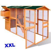 XL Chicken Coop Wood Pet Den Hen Run House Hutch Nest Box Ramp Shelter Wire Mesh