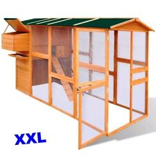 XL Chicken Coop Wood Pet Den Hen Run House Hutch Nest Box Ramp Shelter Wire Mesh
